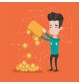 man shaking out bitcoin coins from briefcase vector image vector image