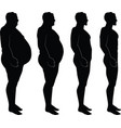 men silhouette losing weight fat thin vector image vector image