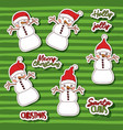 merry christmas with stickers pattern of snowman vector image vector image