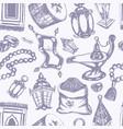 muslim symbols - hand drawn seamless pattern vector image