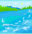 natural scene lake with water splashes mountains vector image