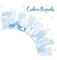 outline cedar rapids iowa city skyline with blue vector image vector image