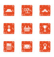 prize money icons set grunge style vector image vector image