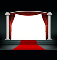 red carpet on the podium with steps vector image vector image