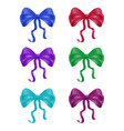 ribbon collection set of colorful bow knot silk vector image