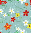 Seamless daisy flowers pattern vector image