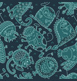Seamless pattern with funny monsters cute