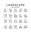 set line outline icons landscape vector image