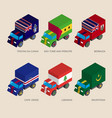 set of isometric 3d cargo with falgs vector image vector image