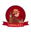 sherlock holmes poster detective vector image