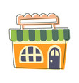 small orange grocery shop cute fairy tale city vector image vector image