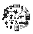 sport gesture icons set simple style vector image