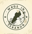 Stamp with map of Lebanon vector image vector image