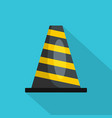 striped cone icon flat style vector image vector image