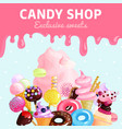 sweets candy shop poster vector image vector image