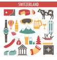 switzerland sightseeing landmarks and famous vector image vector image