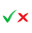 tick and cross brush signs green checkmark ok vector image