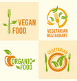vegetarian food set of vintage logos vector image vector image