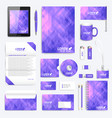 violet set of corporate identity template vector image vector image