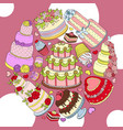 wedding delicious cake round pattern vector image vector image