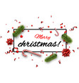 white merry christmas background with confetti vector image
