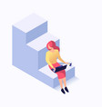 woman sitting on the stairs vector image