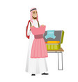 young muslim traveler man packing suitcase vector image vector image