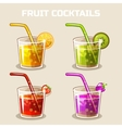 glass of cold fruit cocktails with ice vector image