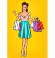 smiling girl-shopper vector image