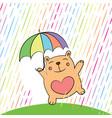 greeting card with funny cartoon bear vector image