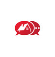 a small green home symbol with window and chimney vector image vector image