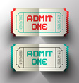 Admit One Paper Cut Tickets Set vector image vector image