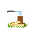 ax in stump and firewood traveling and camping vector image