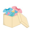 baclothes with feeding bottle in a box vector image