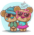 bashower greeting card with bear boy and girl vector image vector image