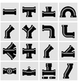 black pipe fittings icon set vector image vector image