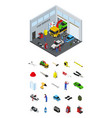 car service interior and elements part isometric vector image vector image
