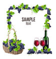 card template with a glass of wine and grapes vector image vector image