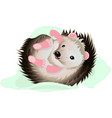 cartoon hedgehog with blanket vector image
