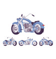 chopper custom motorcycle bright blue set vector image