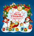 christmas holiday greetings with snowman and gift vector image vector image