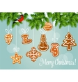 Christmas tree with gingerbread cookie card design vector image