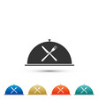 cloche with crossed fork and knife icon isolated vector image