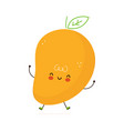 cute funny mango fruit character hand vector image vector image