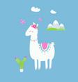 cute llama or alpaca with cactus flowers vector image