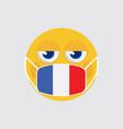 emoji medical mask shaped like an france flag vector image vector image