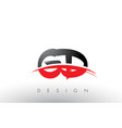 gd g d brush logo letters with red and black vector image vector image