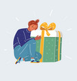 gifts and presents concept happy girl with big vector image