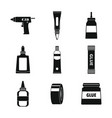 glue stick adhesive icons set simple style vector image