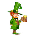 gnome leprechaun with mug vector image vector image
